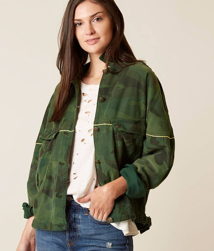 Free People Slouchy Military Jacket - Women's Coats/Jackets in Green Combo  | Buckle