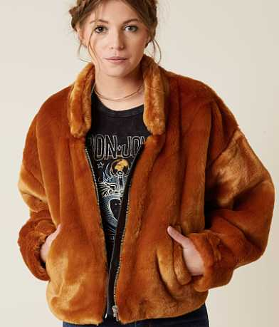 Free People Furry Bomber Jacket