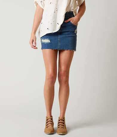 Free People Corsette Denim Mini Skirt