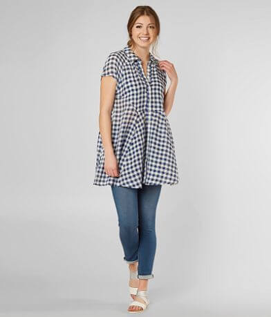 Free People New Spring Love Plaid Tunic Top