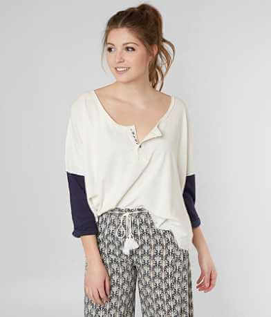 Free People Star Destructed Henley Top