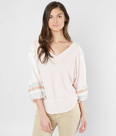 Free People Embroidered Bubble Top