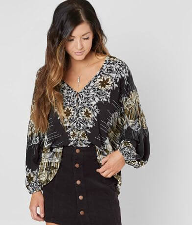 Free People Birds Of A Feather Floral Blouse