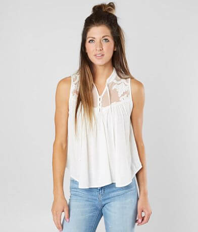 Free People Western Romance Henley Tank Top