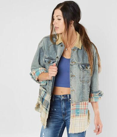 Free People Sirius Mixed Denim Jacket