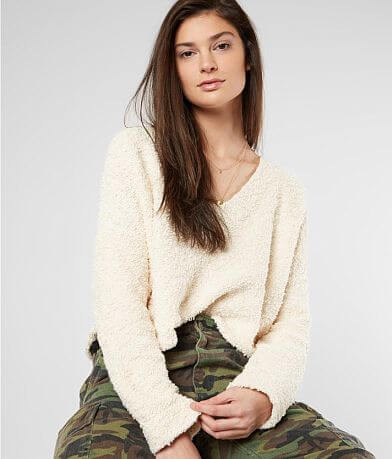 Free People Popcorn Cropped Sweater