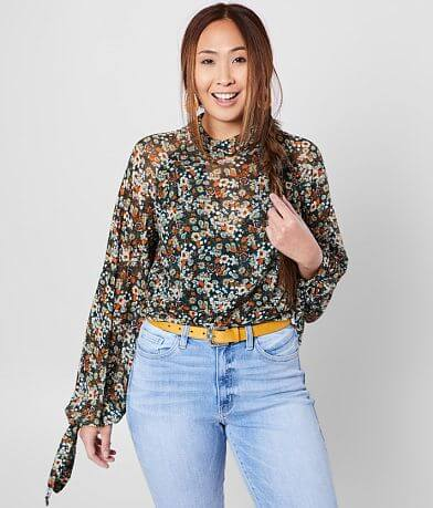 Free People All Dolled Up Floral Cropped Blouse