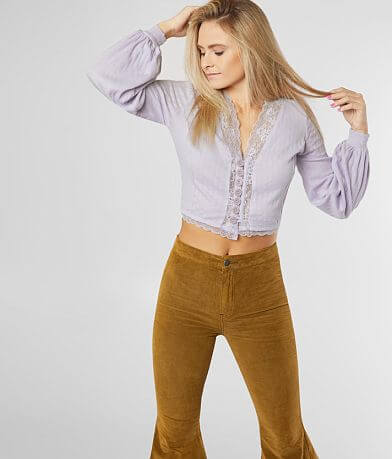 Free People Run With Me Cropped Cardi Top