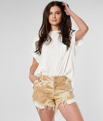 Free People Commander Cutoff Camo Short