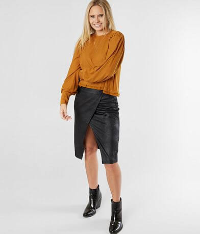 Free People Whitney Vegan Pencil Skirt