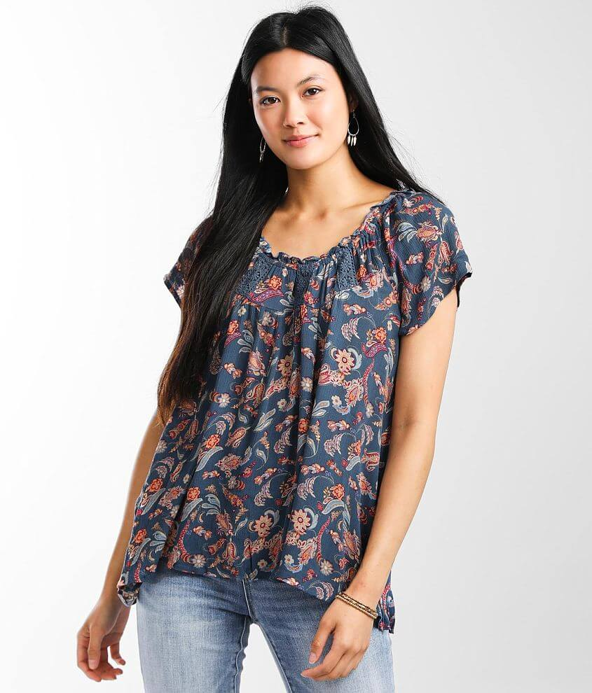 Daytrip Flowy Floral Wide Neck Top front view