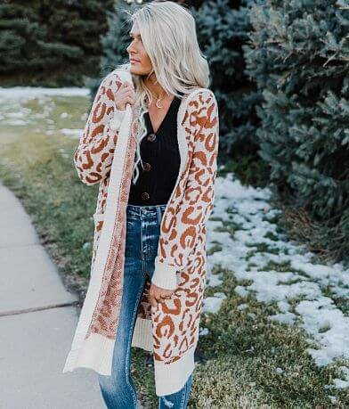 Very J Cheetah Hooded Cardigan Sweater