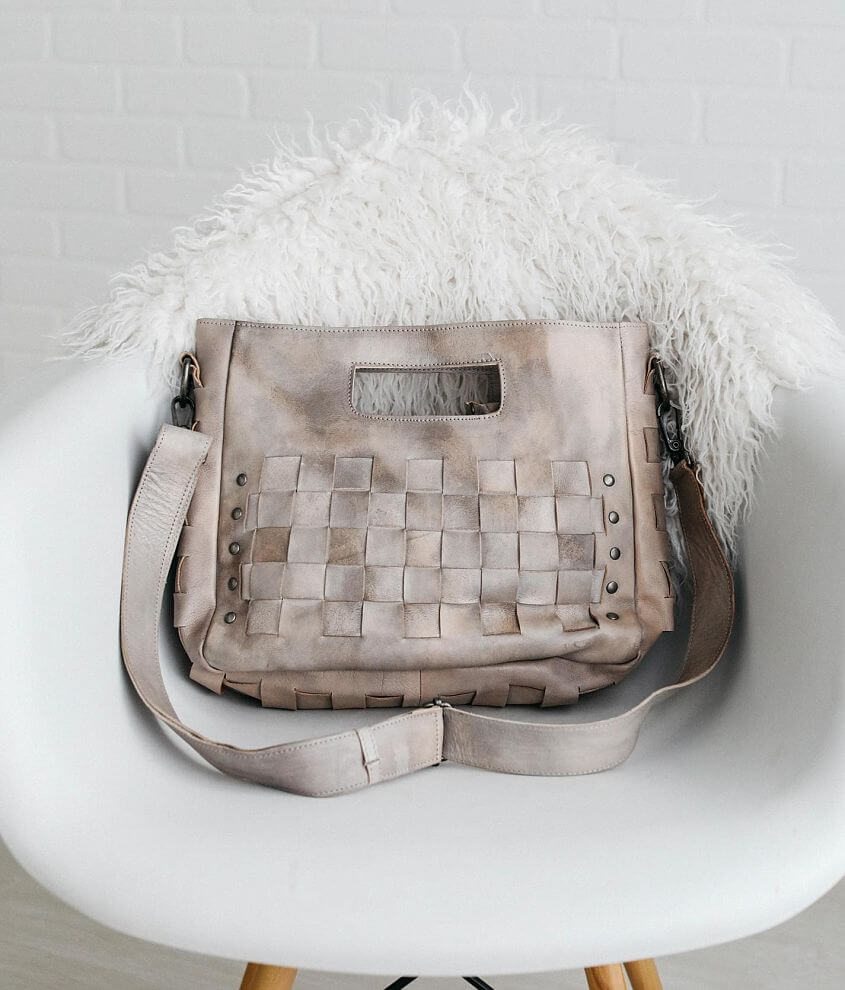 Distressed leather weaved crossbody purse Zipper closure Interior zipper and two pouch pockets Removable shoulder strap Dimensions: 12\\\