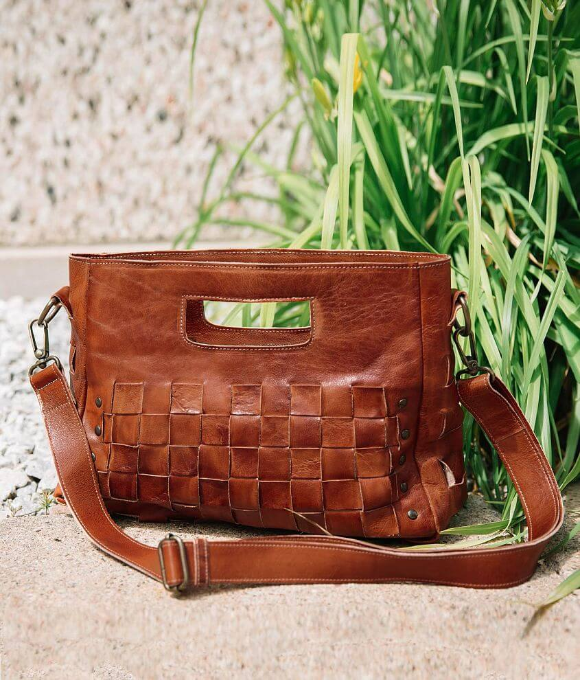 Weaved leather purse Zipper closure Interior zipper and two pouch pockets Removable shoulder strap Dimensions: 12 1/2\\\