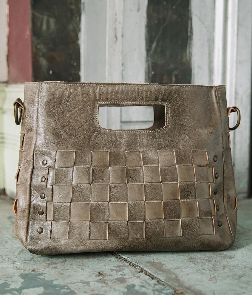 Bed Stu Orchid Studded Leather Satchel Purse front view