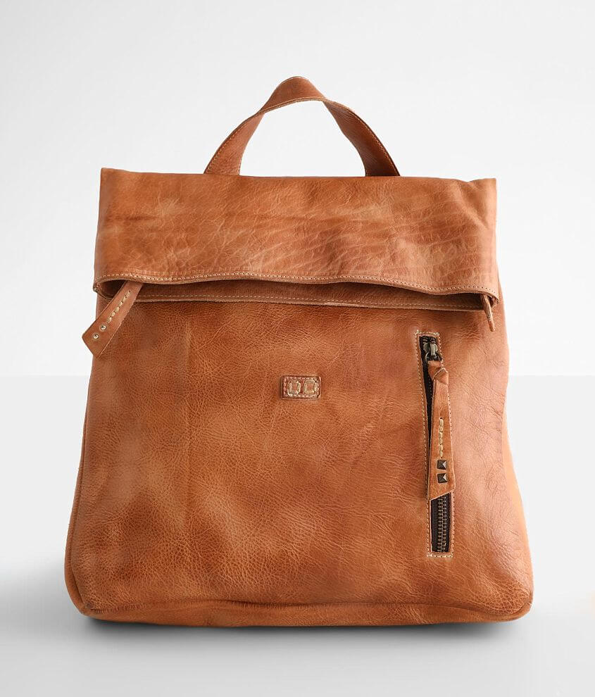 Distressed leather backpack Foldover zipper and magnetic closures Interior zipper and two pouch pockets Exterior zipper and one pouch pocket Adjustable shoulder straps Dimensions: 13\\\
