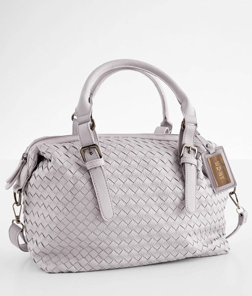 Weaved faux leather purse Zipper closure Multiple interior compartments Removable shoulder strap Dimensions: 12\\\