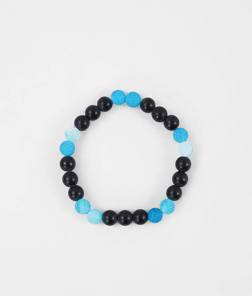 BKE Matte Blue Black Agate Bracelet front view