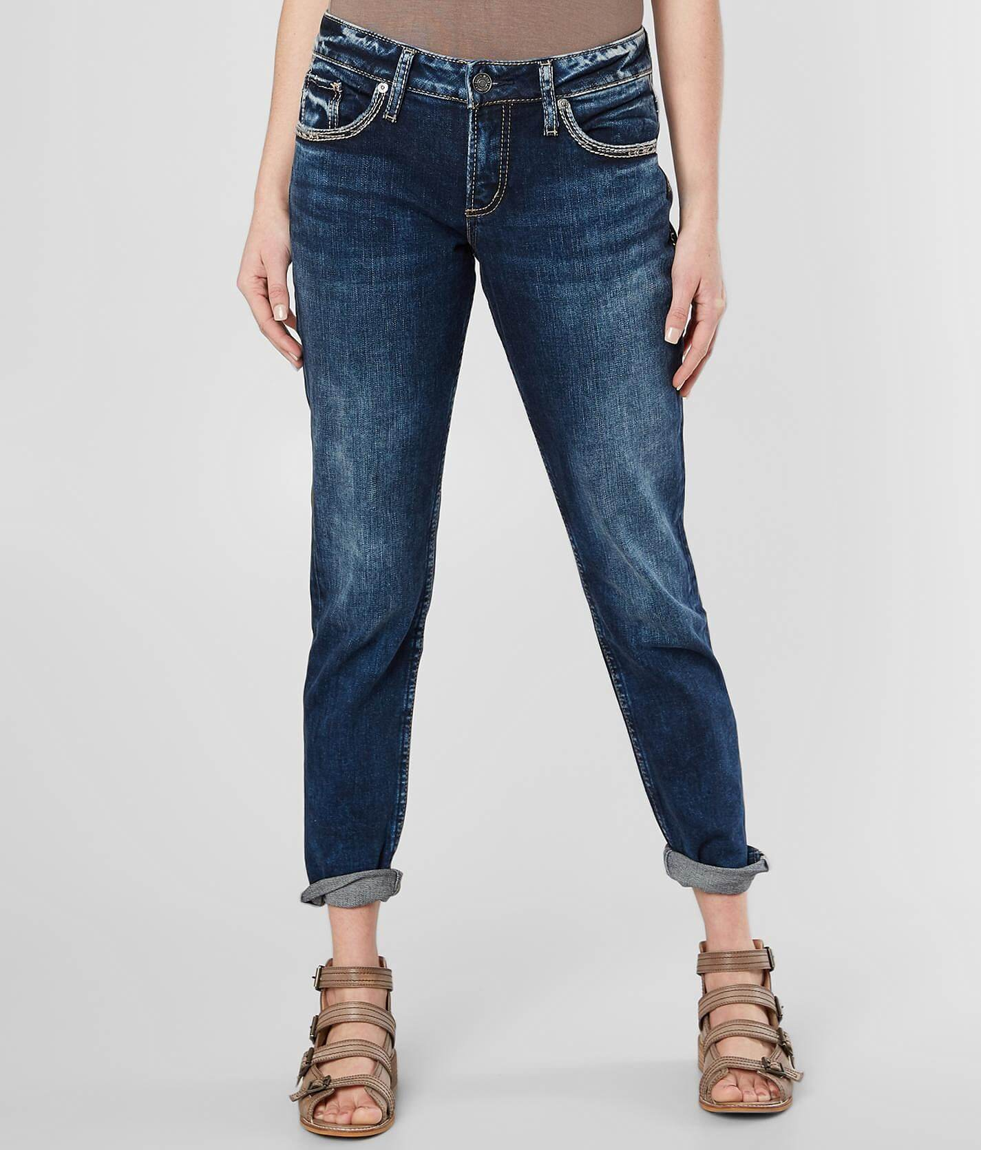 Silver Boyfriend Stretch Cuffed Jean