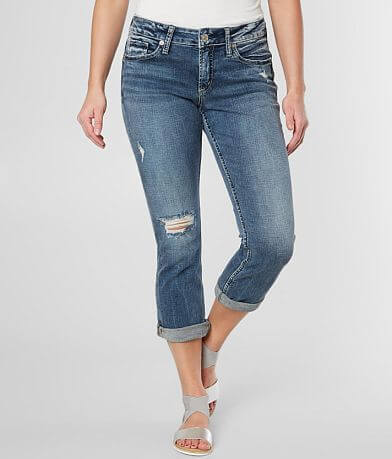 Silver Elyse Stretch Cropped Jean