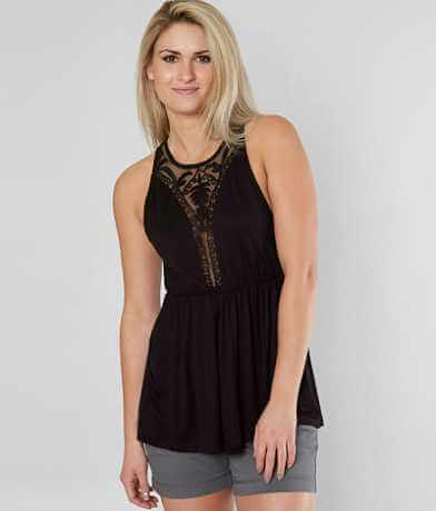 BKE Boutique Embroidered Mesh Tank Top