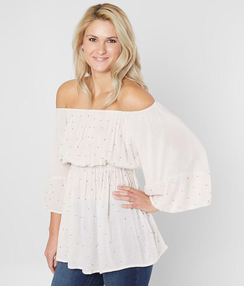 BKE Boutique Beaded Ruffle Blouse