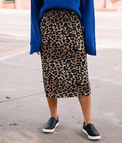 RD&koko Leopard Pleated Midi Skirt