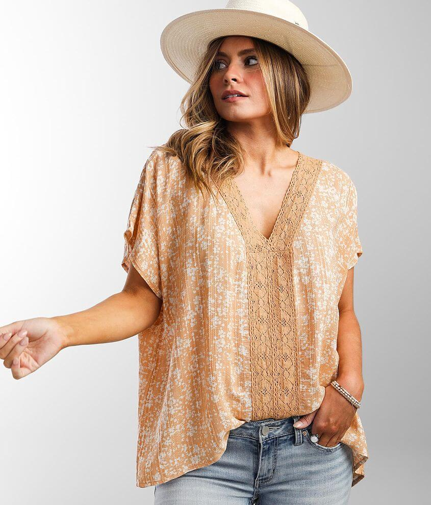 Daytrip Textured Jacquard Washed Dolman Top front view