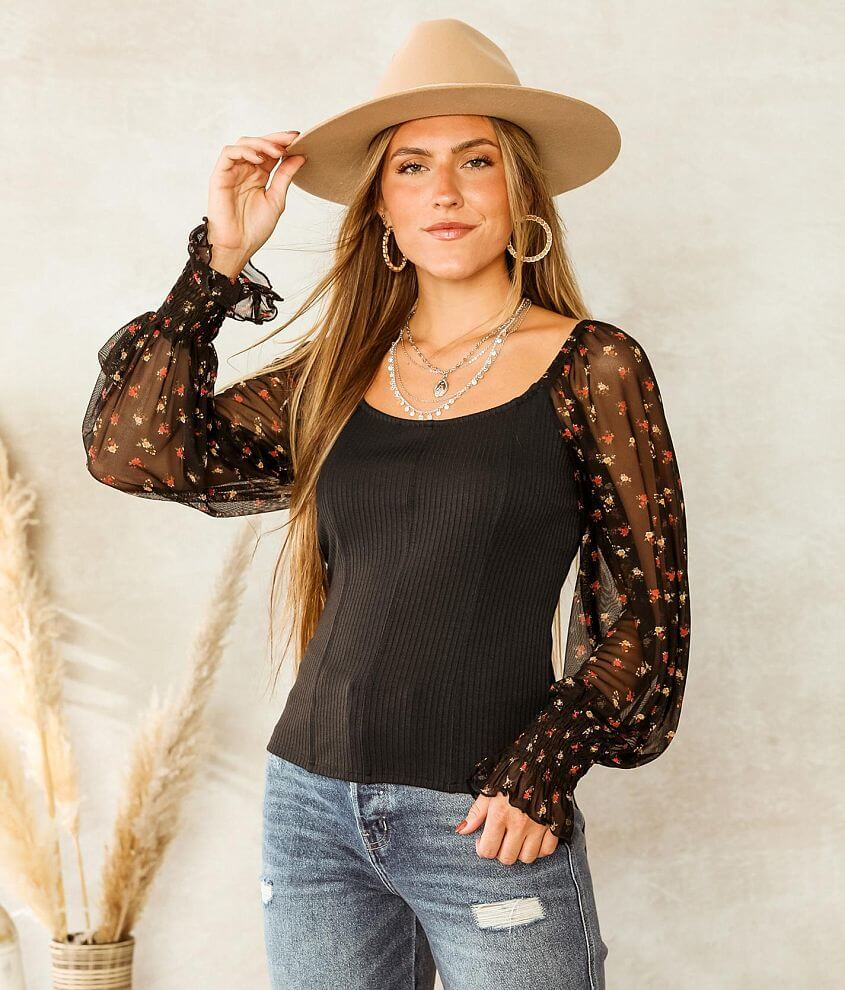 Willow & Root Ribbed Knit Fitted Top front view