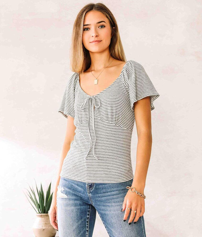 Willow & Root Striped Keyhole Front Tie Top front view