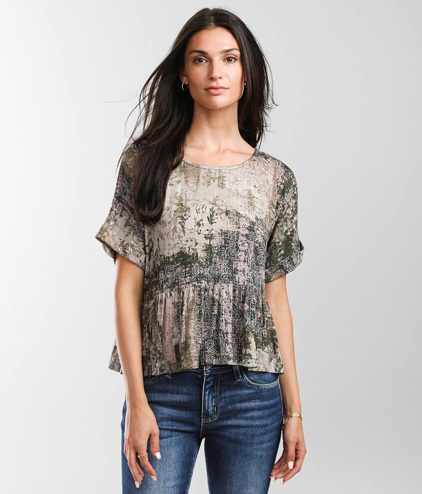 Daytrip Mixed Print Top front view