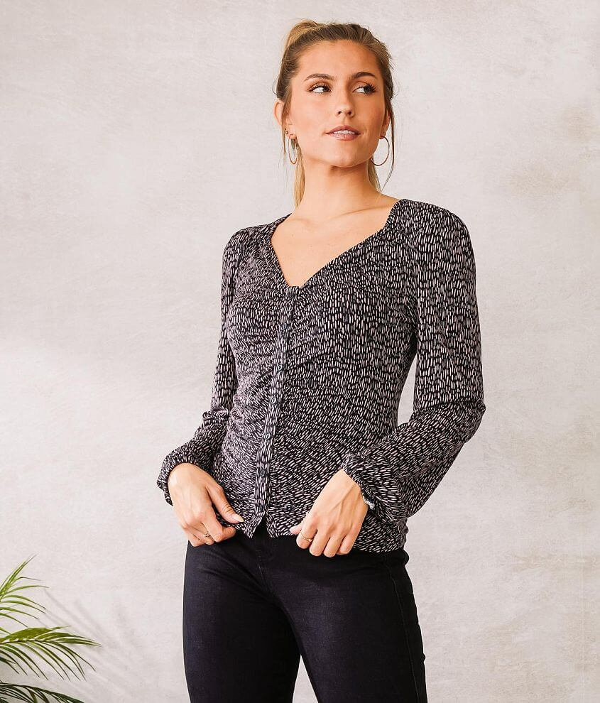Willow & Root Ruched Knit Top front view