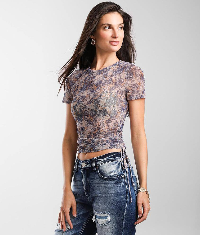 Willow & Root Washed Paisley Mesh Top front view