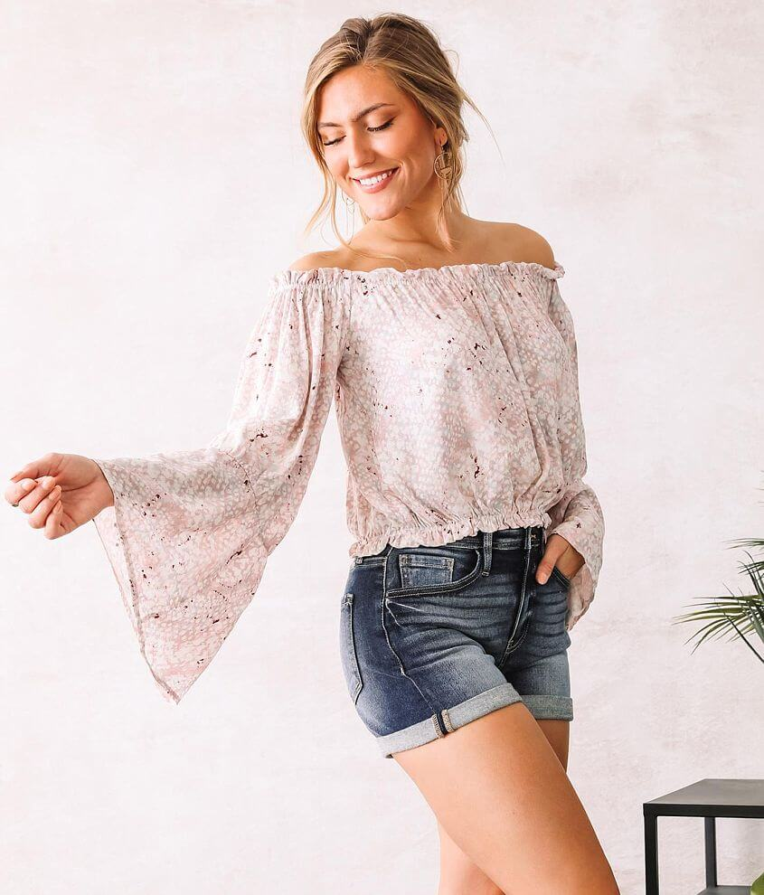 Willow & Root Off The Shoulder Bell Sleeve Top front view