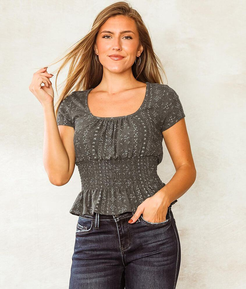 Willow & Root Brushed Knit Peplum Top front view