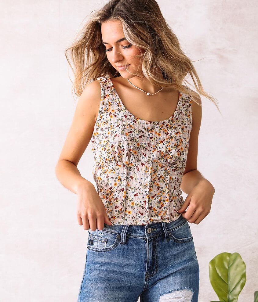 Willow & Root Floral Pointelle Tank Top front view