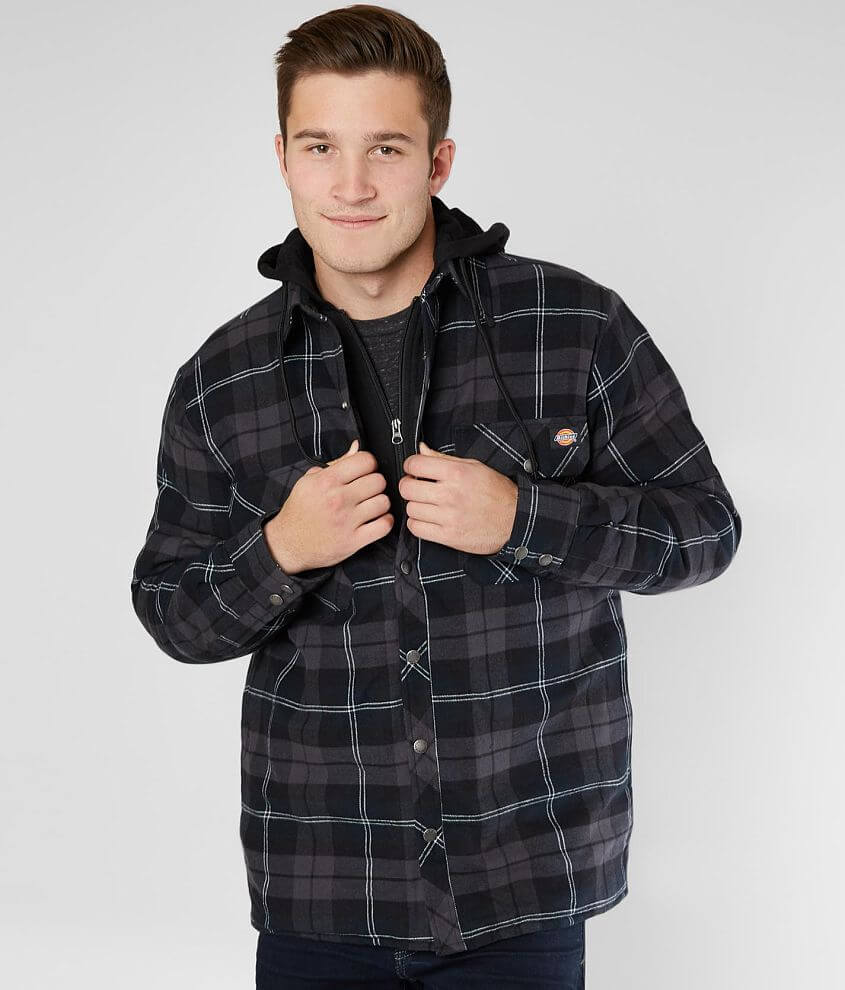 Zip and snap front plaid jacket Quilted lining Side seam pockets Model Info: Height: 6\\\'3\\\