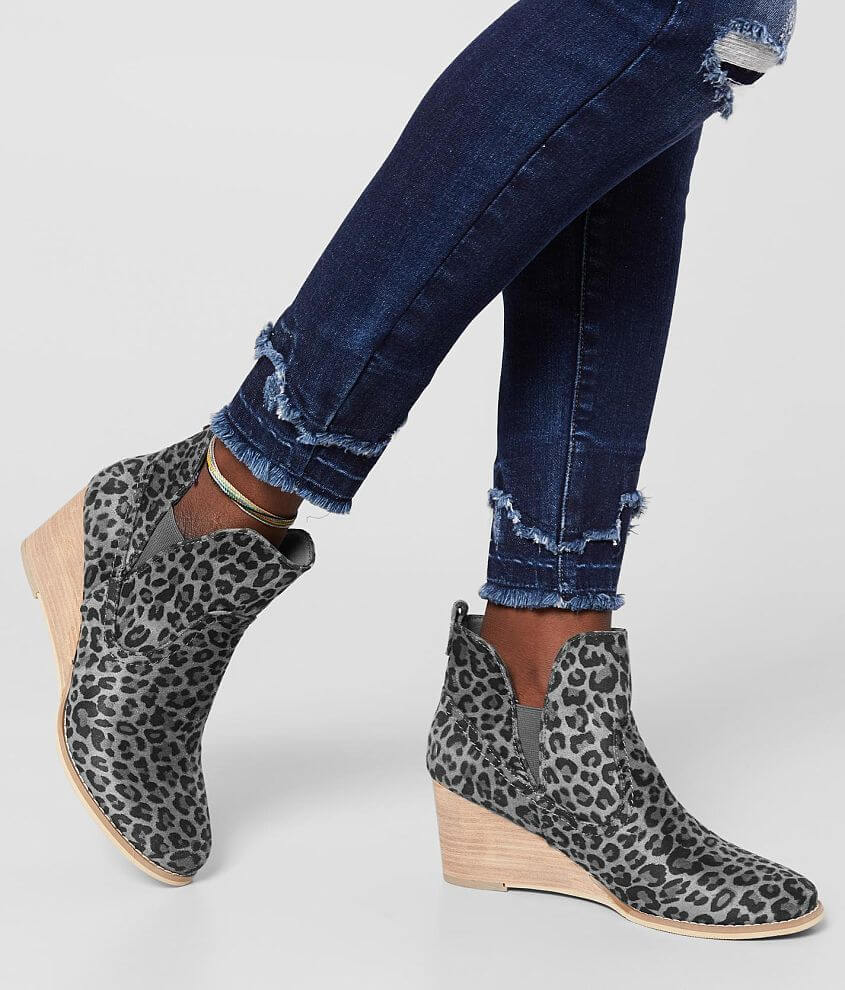 Very G Erin Leopard Wedge Ankle Boot front view