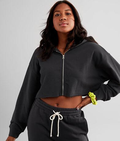 NIA Viola Cropped Knit Hooded Sweatshirt