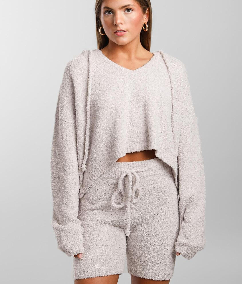 NIA Cropped Split Neck Hoodie front view