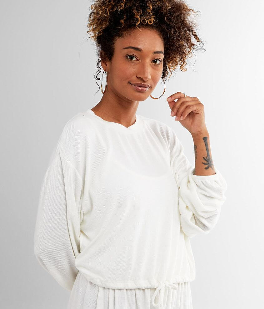 NIA Cinched Hem Cropped Hacci Pullover front view