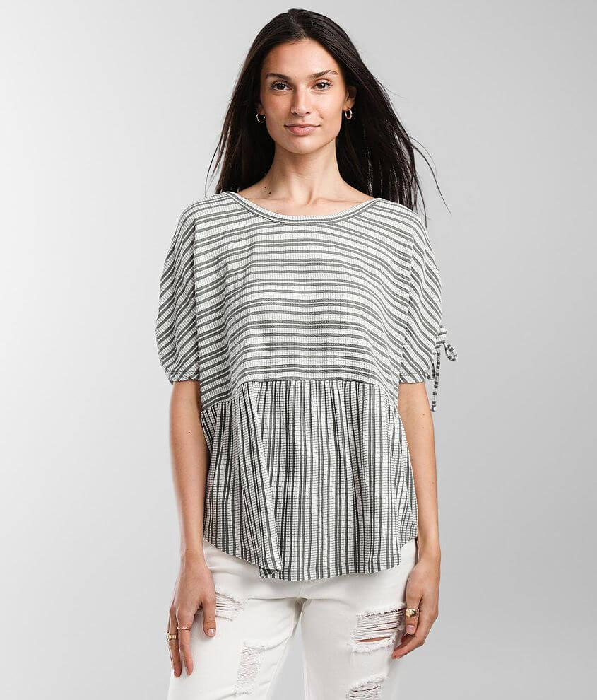 Daytrip Striped Babydoll Top front view