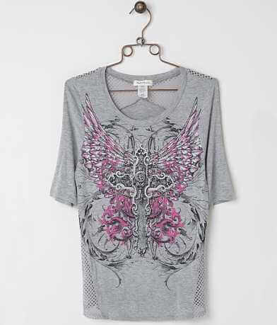 Angels & Diamonds Winged Cross Top