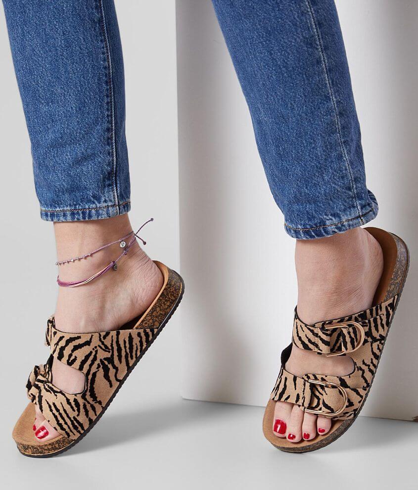 Qupid Luka Flocked Animal Printed Sandal front view
