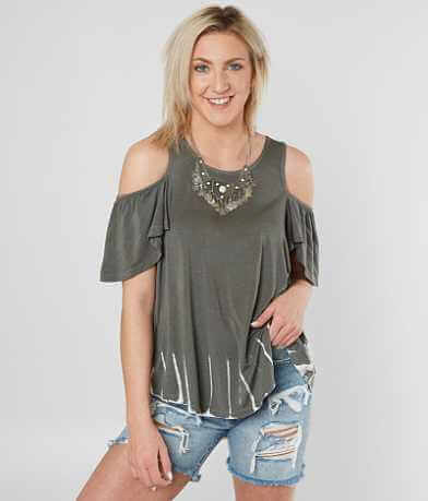 White Crow Warped Cold Shoulder Top