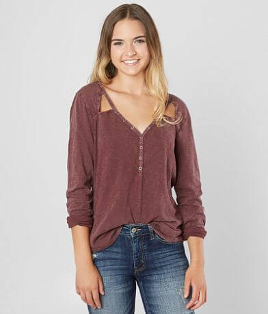 White Crow The Carry On Burnout Henley Top