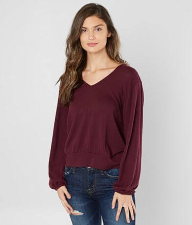 White Crow Patterson V-Neck Fleece Top