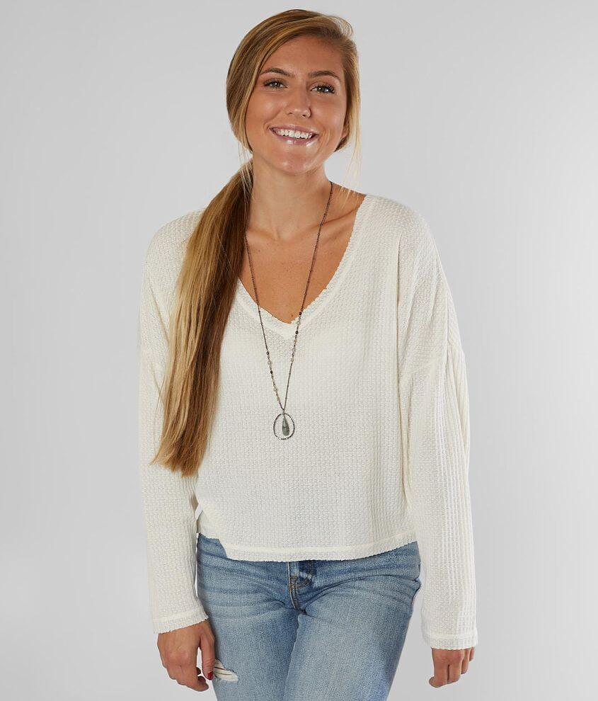 White Crow Cropped Waffle Top front view