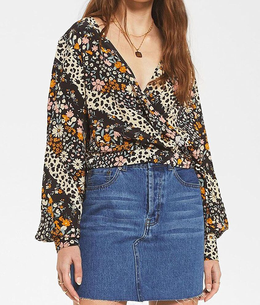 White Crow Naty Floral & Animal Print Top front view