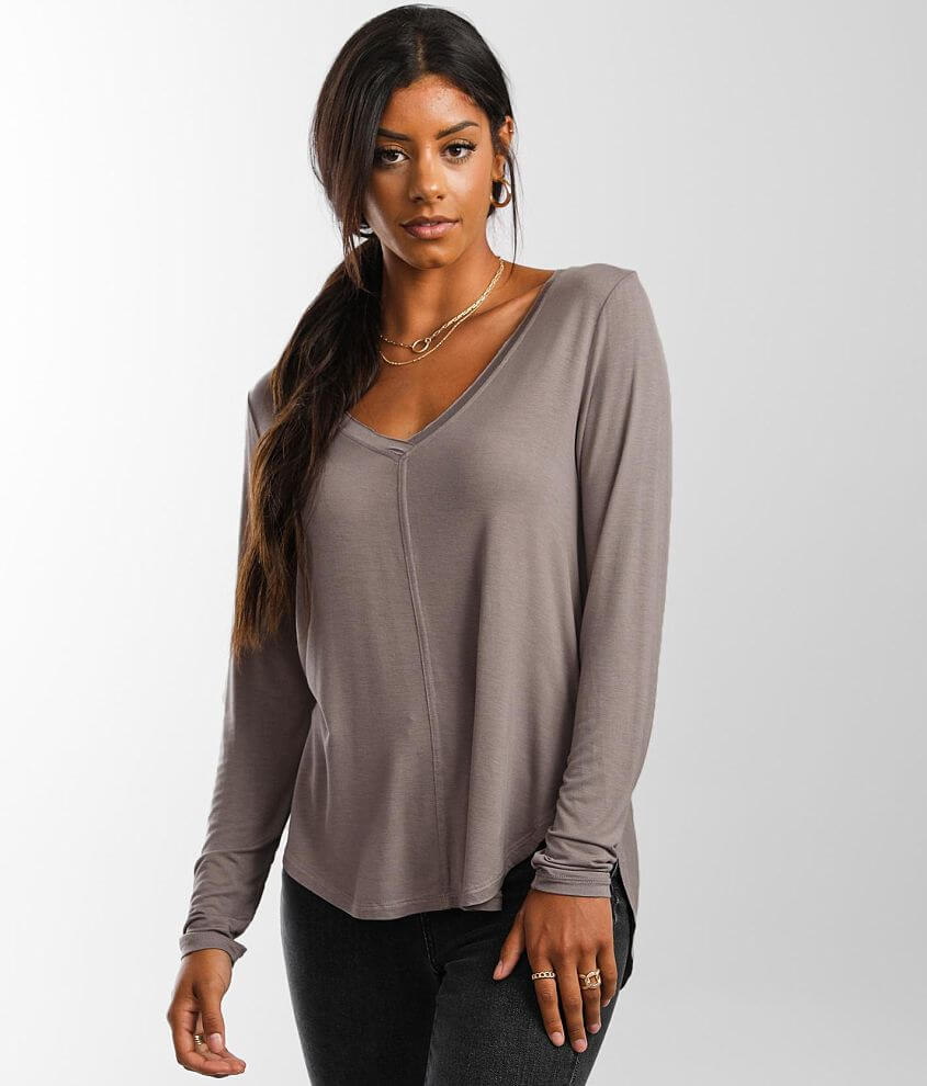 White Crow Raw Edge V-Neck Top front view